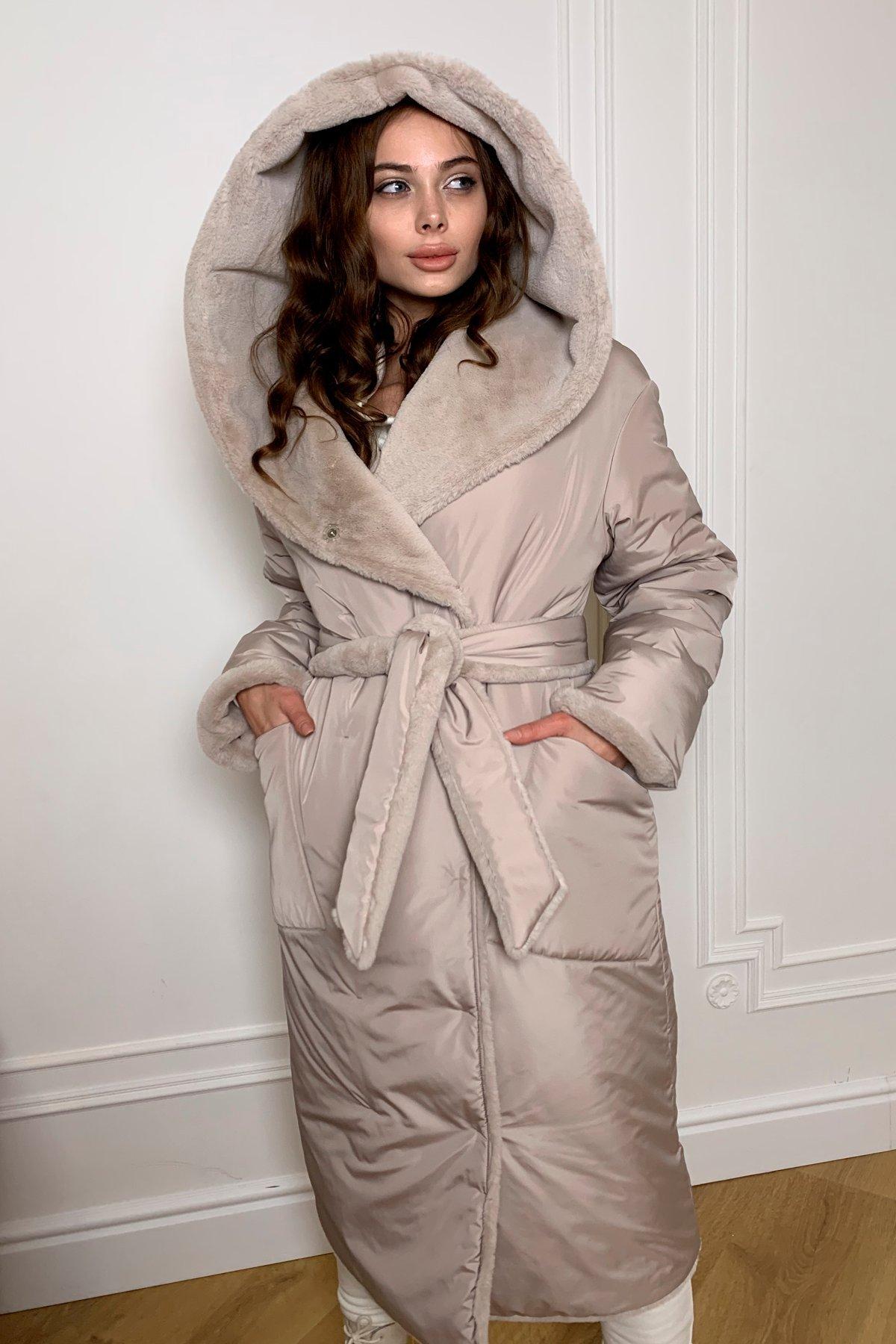 Сноу  теплое двухстороннее пальто из  еко меха и плотной  плащевки 9956 АРТ. 46668 Цвет: Св.серый/бежевый511 - фото 1, интернет магазин tm-modus.ru