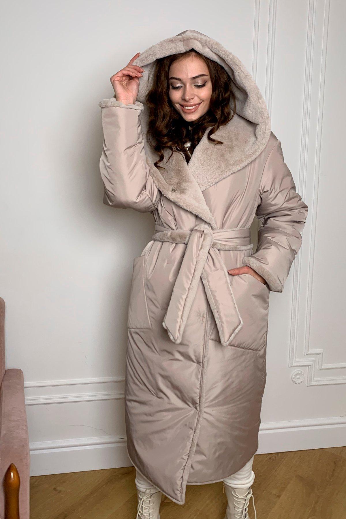 Сноу  теплое двухстороннее пальто из  еко меха и плотной  плащевки 9956 АРТ. 46668 Цвет: Св.серый/бежевый511 - фото 2, интернет магазин tm-modus.ru