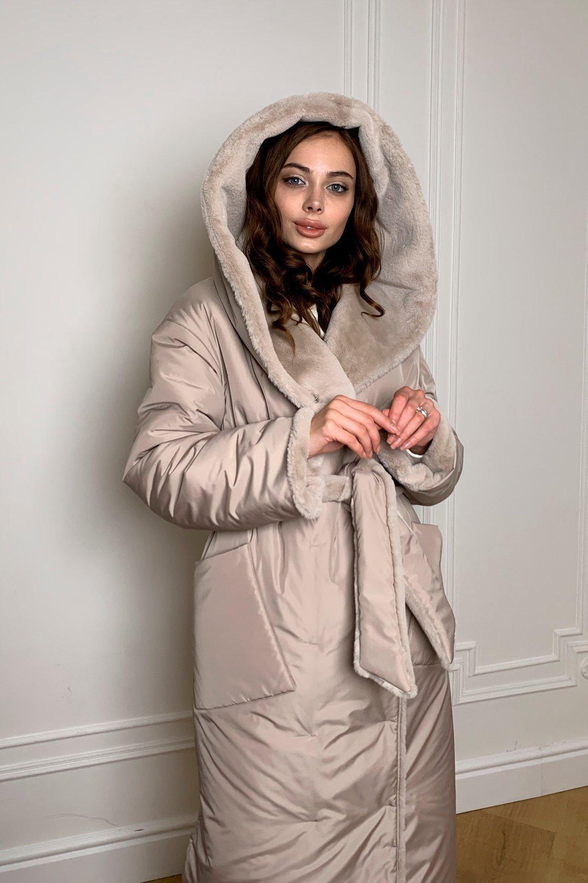 Сноу  теплое двухстороннее пальто из  еко меха и плотной  плащевки 9956 АРТ. 46668 Цвет: Св.серый/бежевый511 - фото 3, интернет магазин tm-modus.ru