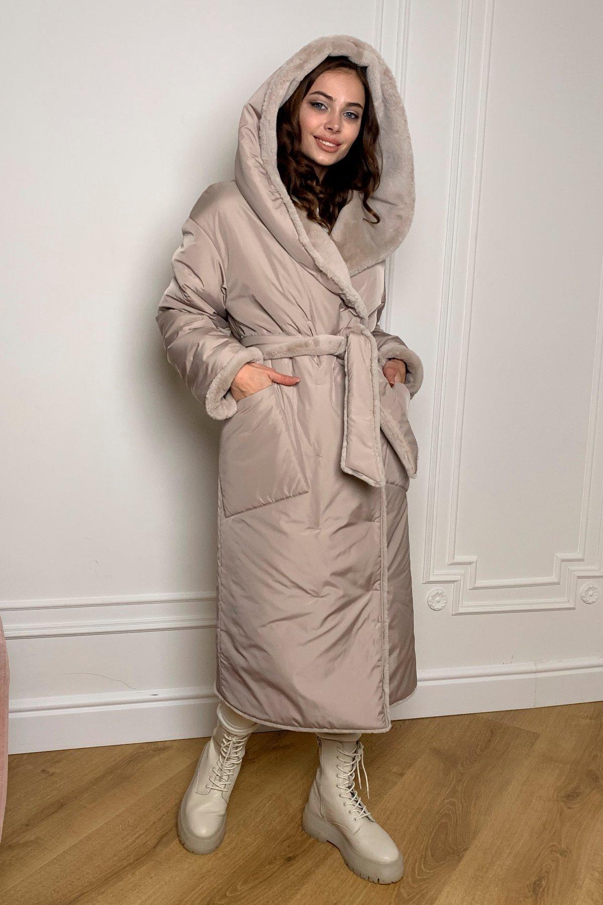 Сноу  теплое двухстороннее пальто из  еко меха и плотной  плащевки 9956