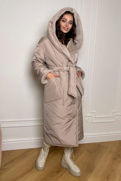 """Купить """"Сноу""""  теплое двухстороннее пальто из  еко меха и плотной  плащевки 9956 оптом и в розницу"""