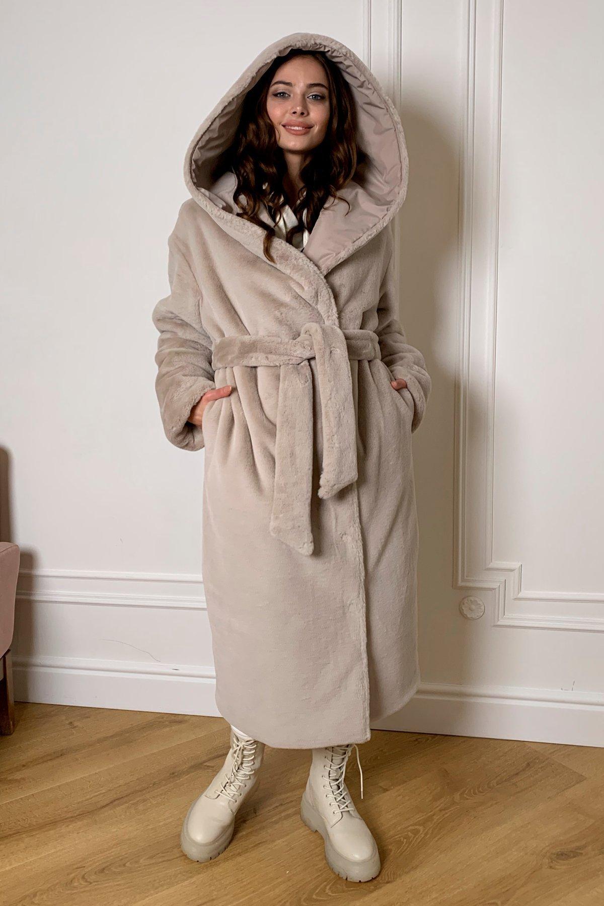 Сноу  теплое двухстороннее пальто из  еко меха и плотной  плащевки 9956 АРТ. 46668 Цвет: Св.серый/бежевый511 - фото 5, интернет магазин tm-modus.ru