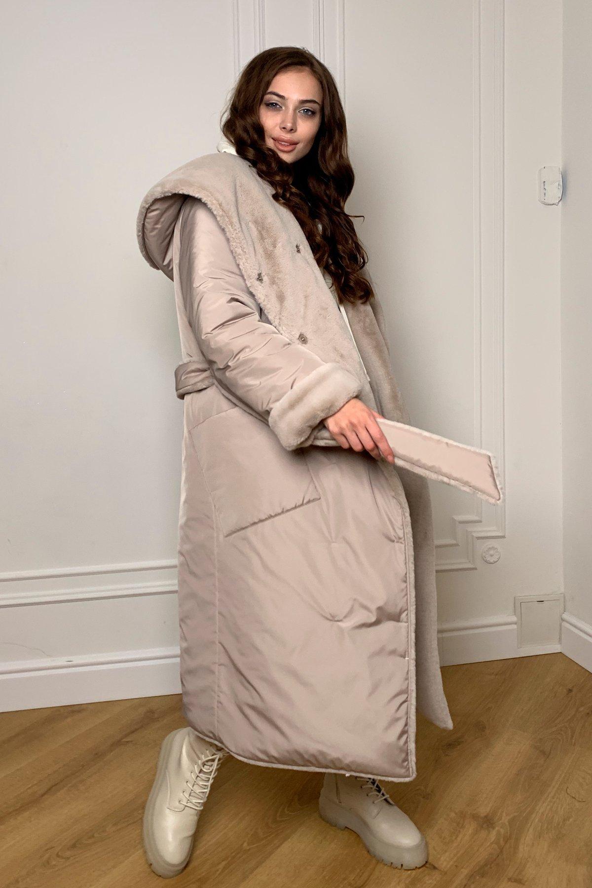Сноу  теплое двухстороннее пальто из  еко меха и плотной  плащевки 9956 АРТ. 46668 Цвет: Св.серый/бежевый511 - фото 7, интернет магазин tm-modus.ru