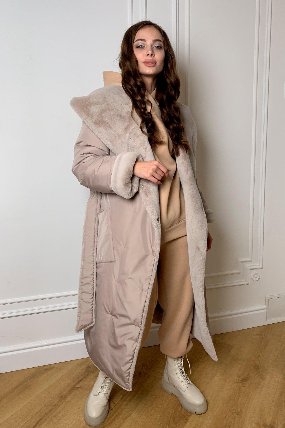 Сноу  теплое двухстороннее пальто из  еко меха и плотной  плащевки 9956 АРТ. 46668 Цвет: Св.серый/бежевый511 - фото 8, интернет магазин tm-modus.ru