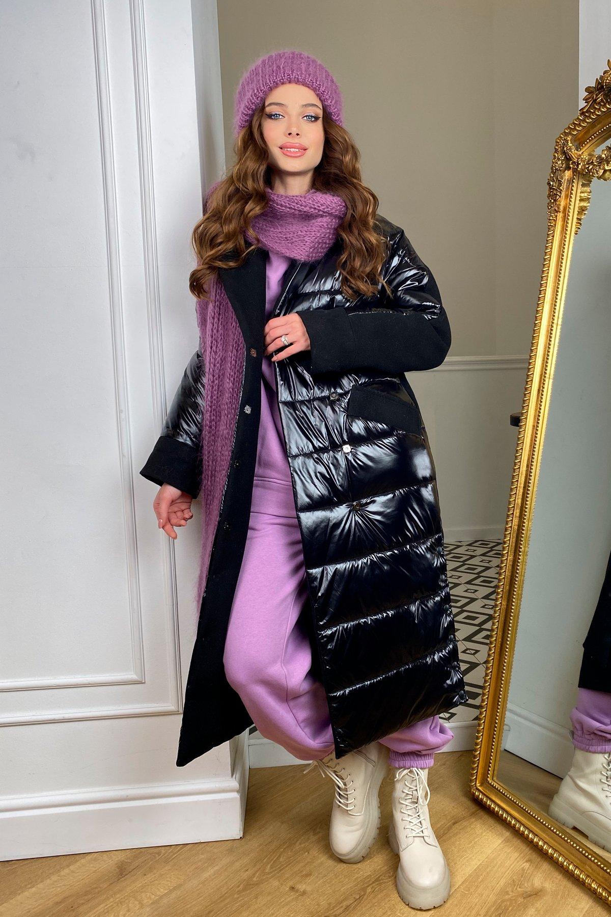 СанреМакси зимнее пальто из кашемира и плащевки 10084 АРТ. 46396 Цвет: черный/черный - фото 1, интернет магазин tm-modus.ru