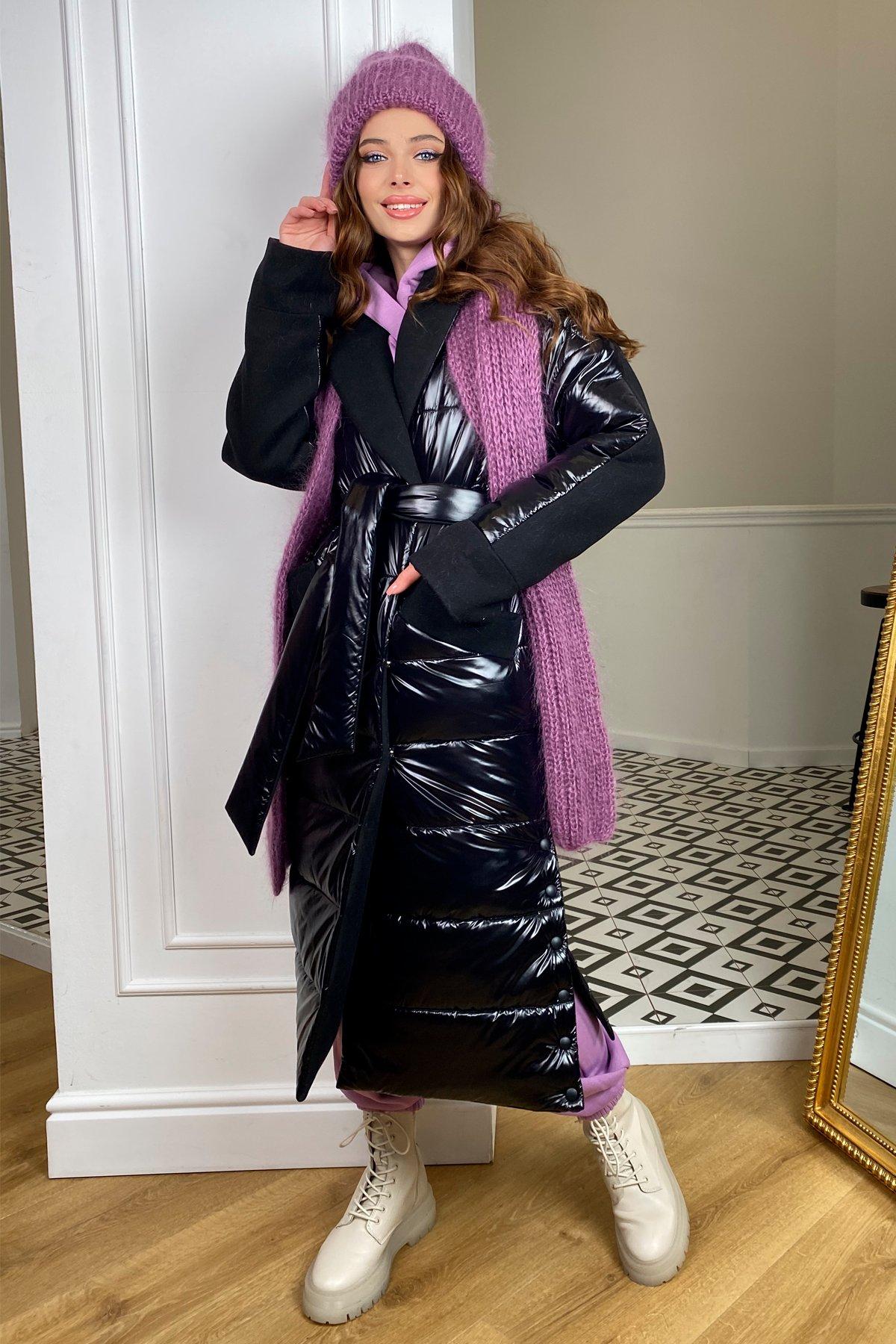 СанреМакси зимнее пальто из кашемира и плащевки 10084 АРТ. 46396 Цвет: черный/черный - фото 3, интернет магазин tm-modus.ru