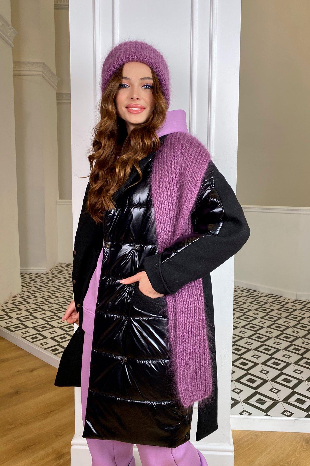 Санре зимнее пальто из кашемира и плащевки 10301 АРТ. 46597 Цвет: черный/черный - фото 1, интернет магазин tm-modus.ru