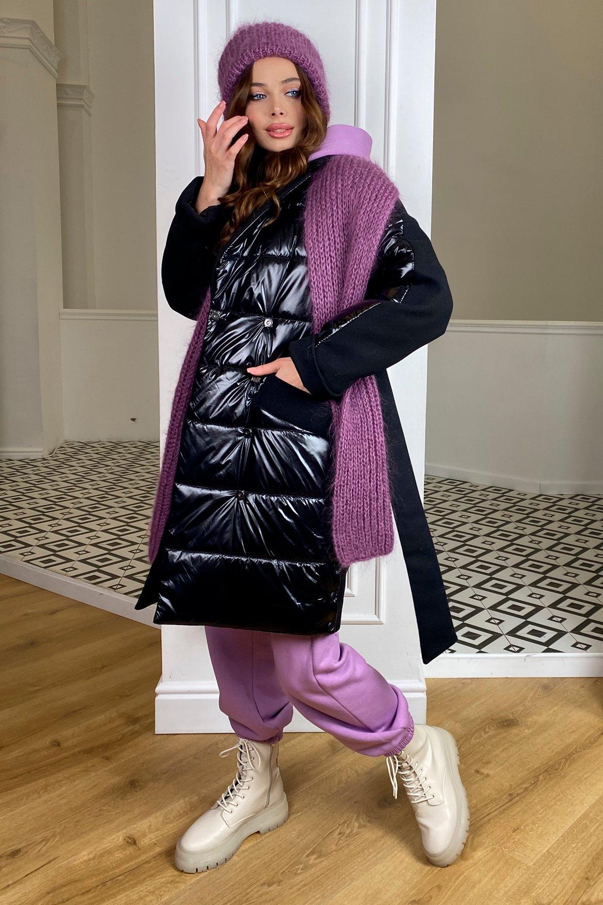 Санре зимнее пальто из кашемира и плащевки 10301 АРТ. 46597 Цвет: черный/черный - фото 2, интернет магазин tm-modus.ru