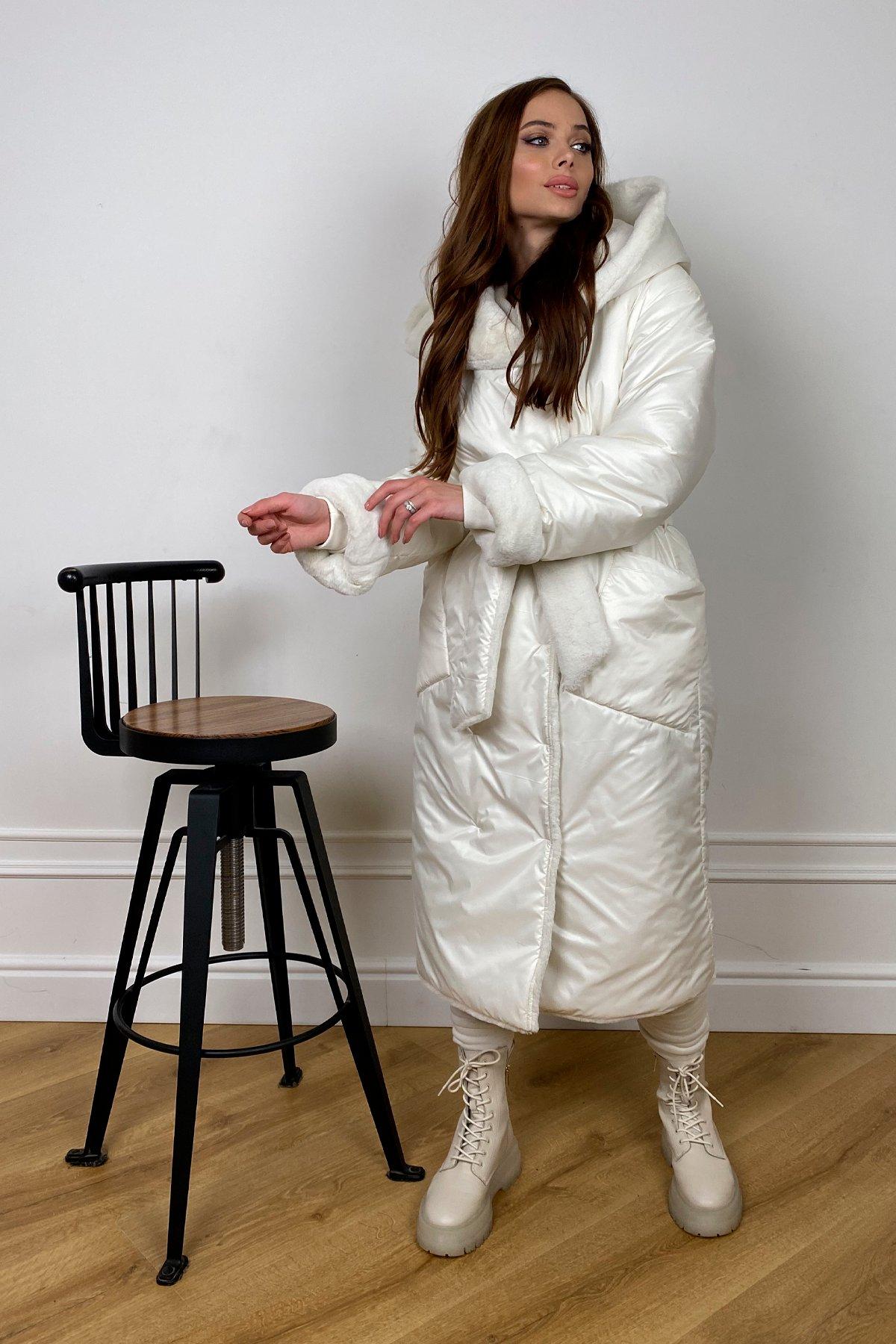 Сноу  теплое двухстороннее пальто из  еко меха и плотной  плащевки 10344 АРТ. 46645 Цвет: Молоко - фото 1, интернет магазин tm-modus.ru