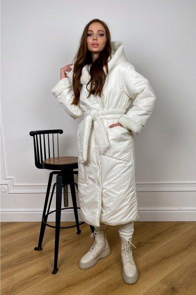 """Купить """"Сноу""""  теплое двухстороннее пальто из  еко меха и плотной  плащевки 10344 оптом и в розницу"""