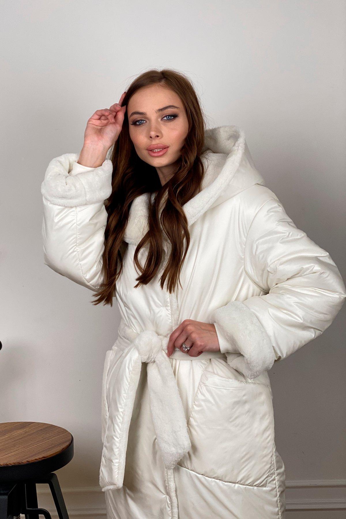 Сноу  теплое двухстороннее пальто из  еко меха и плотной  плащевки 10344 АРТ. 46645 Цвет: Молоко - фото 3, интернет магазин tm-modus.ru