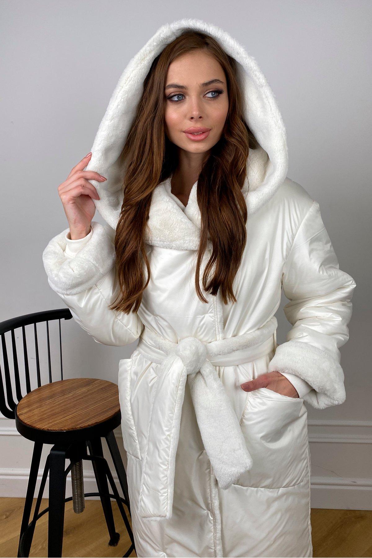 Сноу  теплое двухстороннее пальто из  еко меха и плотной  плащевки 10344 АРТ. 46645 Цвет: Молоко - фото 4, интернет магазин tm-modus.ru