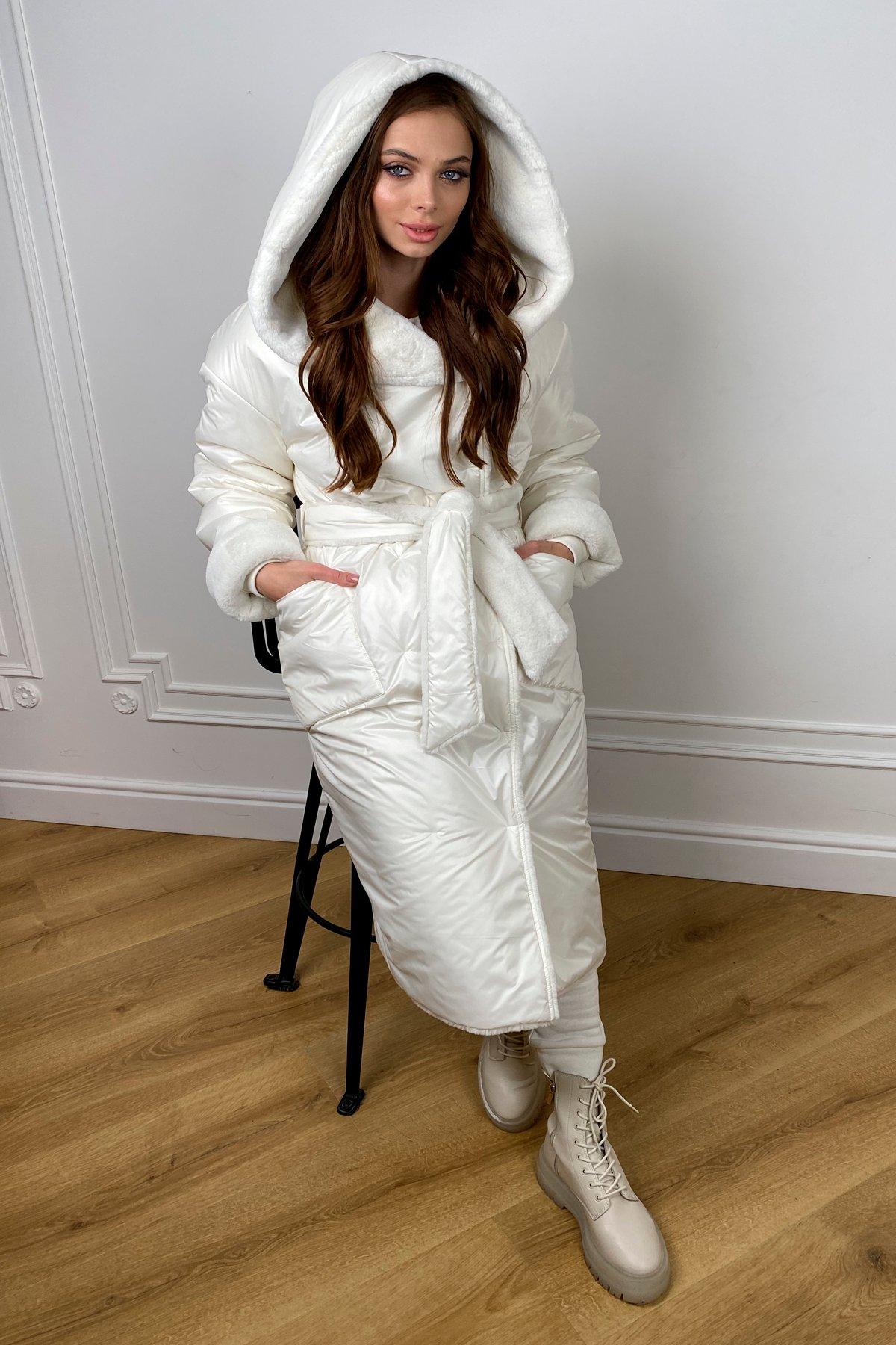 Сноу  теплое двухстороннее пальто из  еко меха и плотной  плащевки 10344 АРТ. 46645 Цвет: Молоко - фото 5, интернет магазин tm-modus.ru