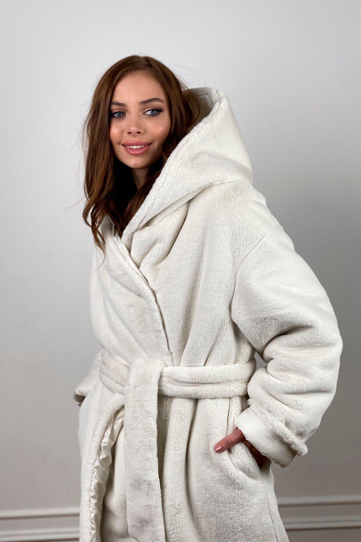 Сноу  теплое двухстороннее пальто из  еко меха и плотной  плащевки 10344 АРТ. 46645 Цвет: Молоко - фото 7, интернет магазин tm-modus.ru