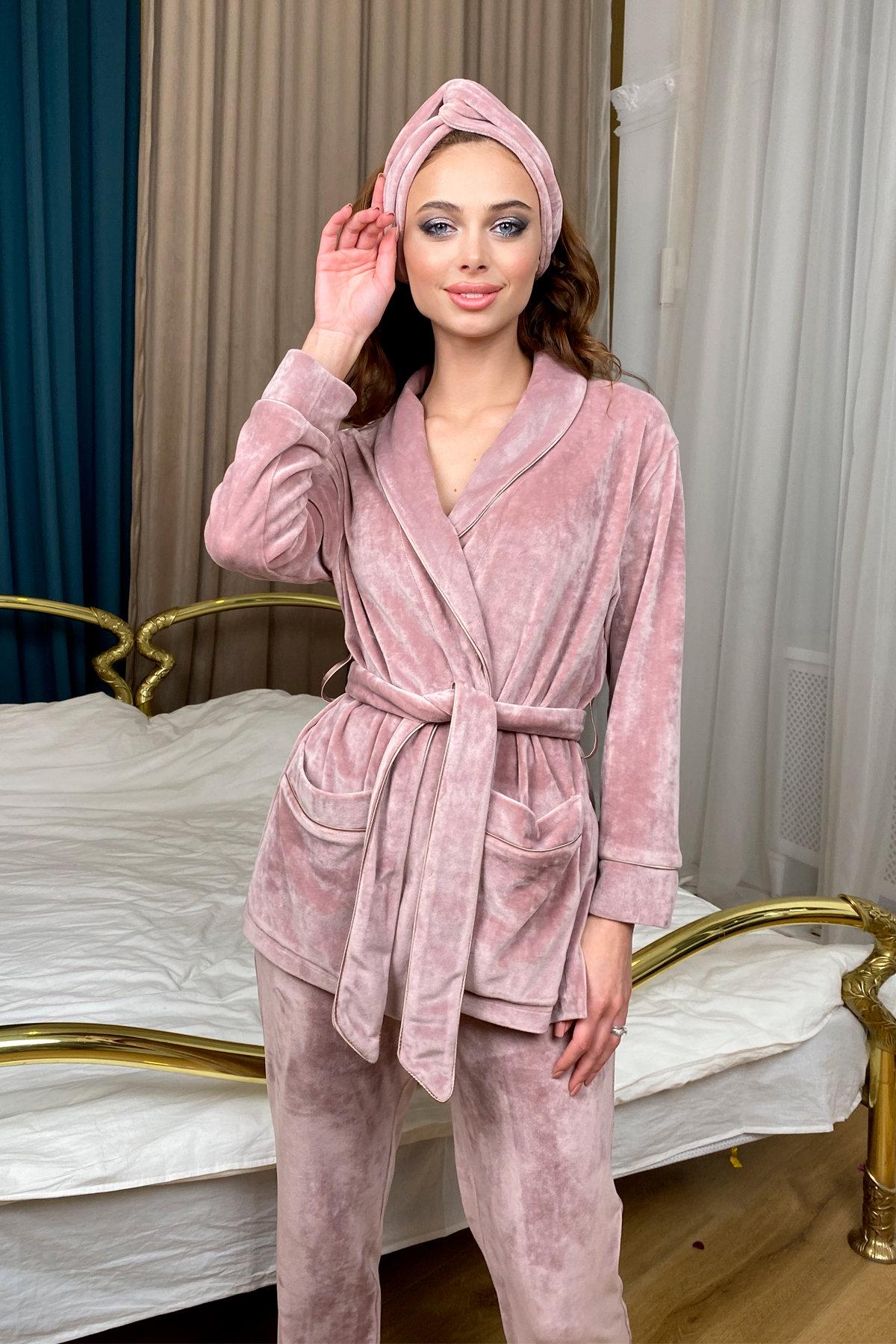 Ясмин пижама из велюра жакет,брюки и маска для сна  10376 АРТ. 46684 Цвет: Пудра - фото 7, интернет магазин tm-modus.ru
