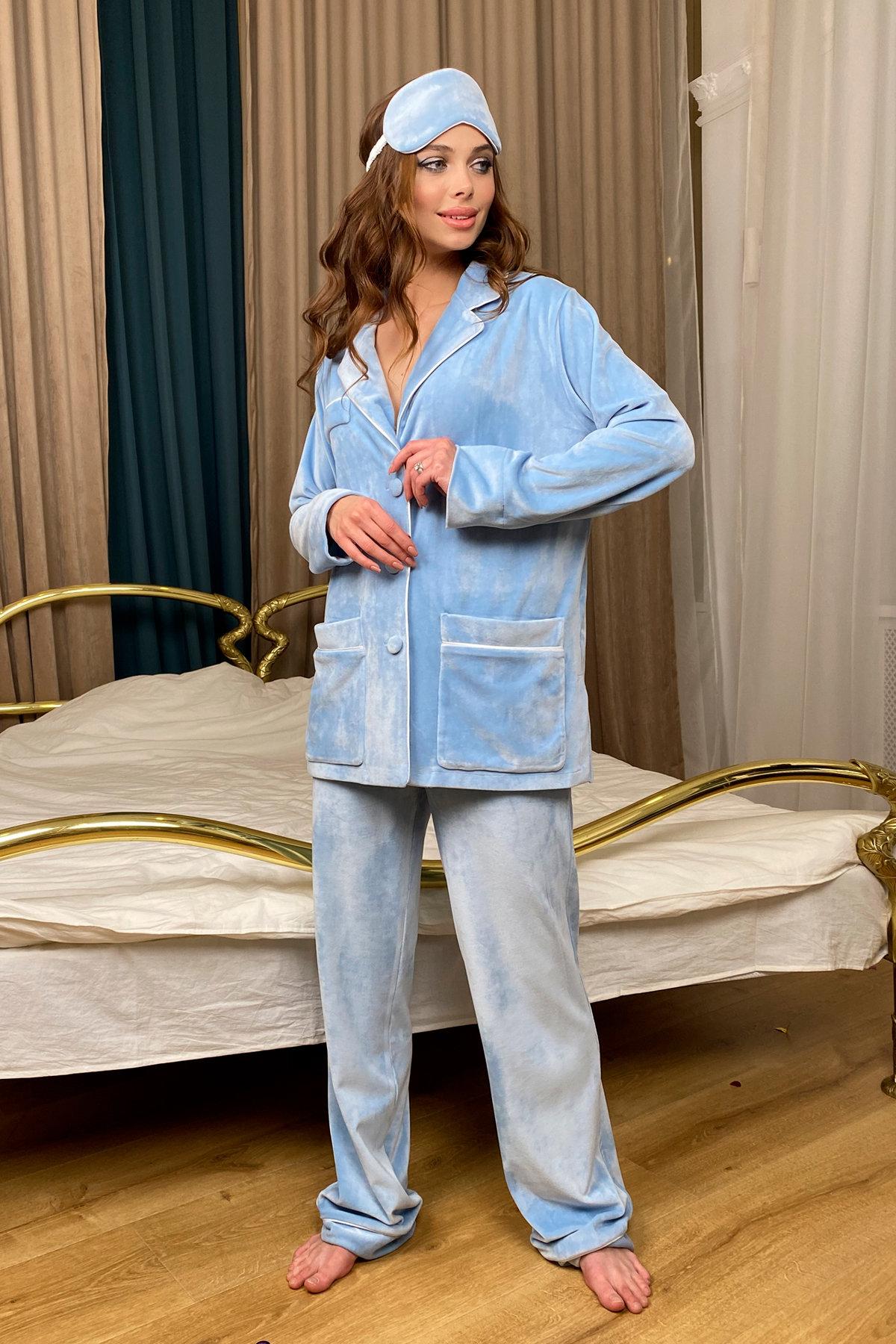 Шайн пижама велюр жакет брюки маска для сна 10353 АРТ. 46717 Цвет: Голубой - фото 3, интернет магазин tm-modus.ru