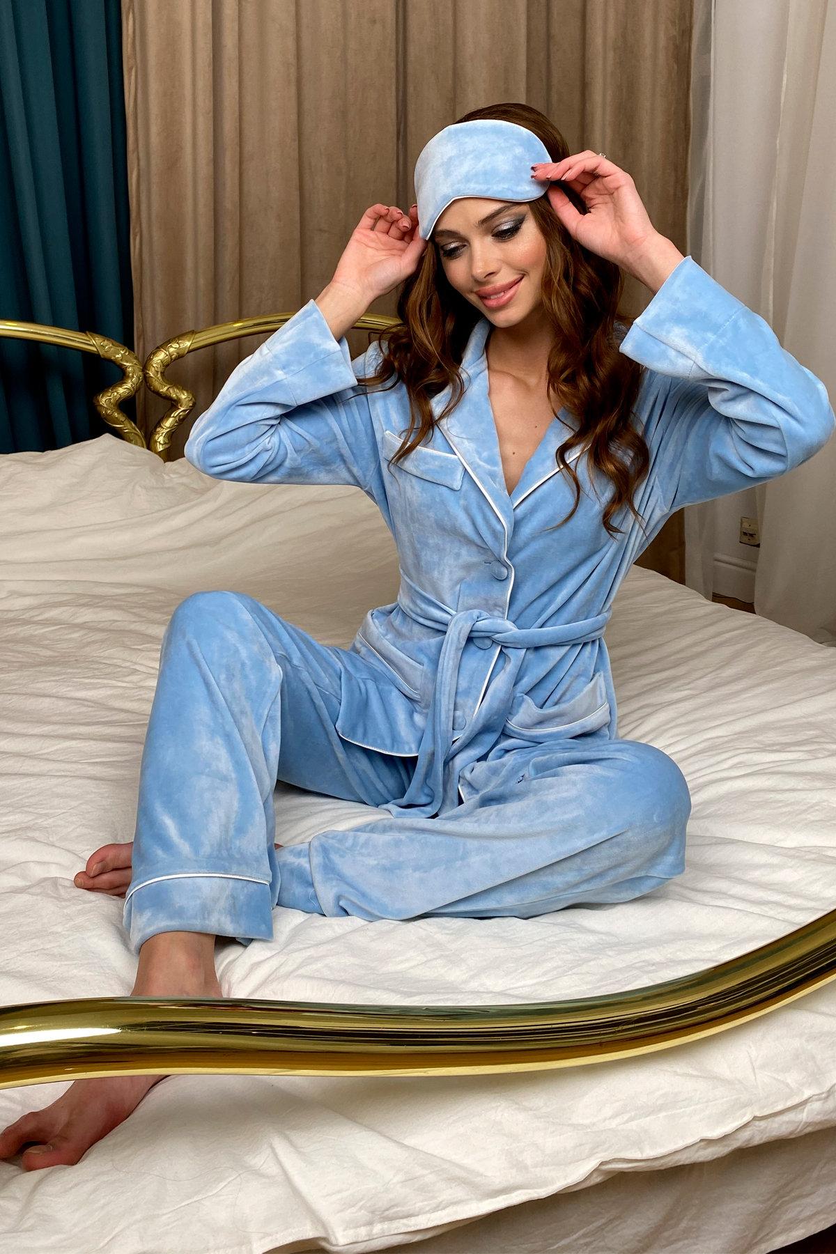 Шайн пижама велюр жакет брюки маска для сна 10353 АРТ. 46717 Цвет: Голубой - фото 6, интернет магазин tm-modus.ru