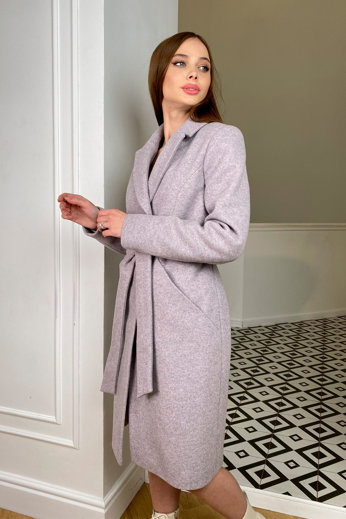 Пальто зима Мехико 8273 АРТ. 44381 Цвет: Серо-розовый 46 - фото 3, интернет магазин tm-modus.ru