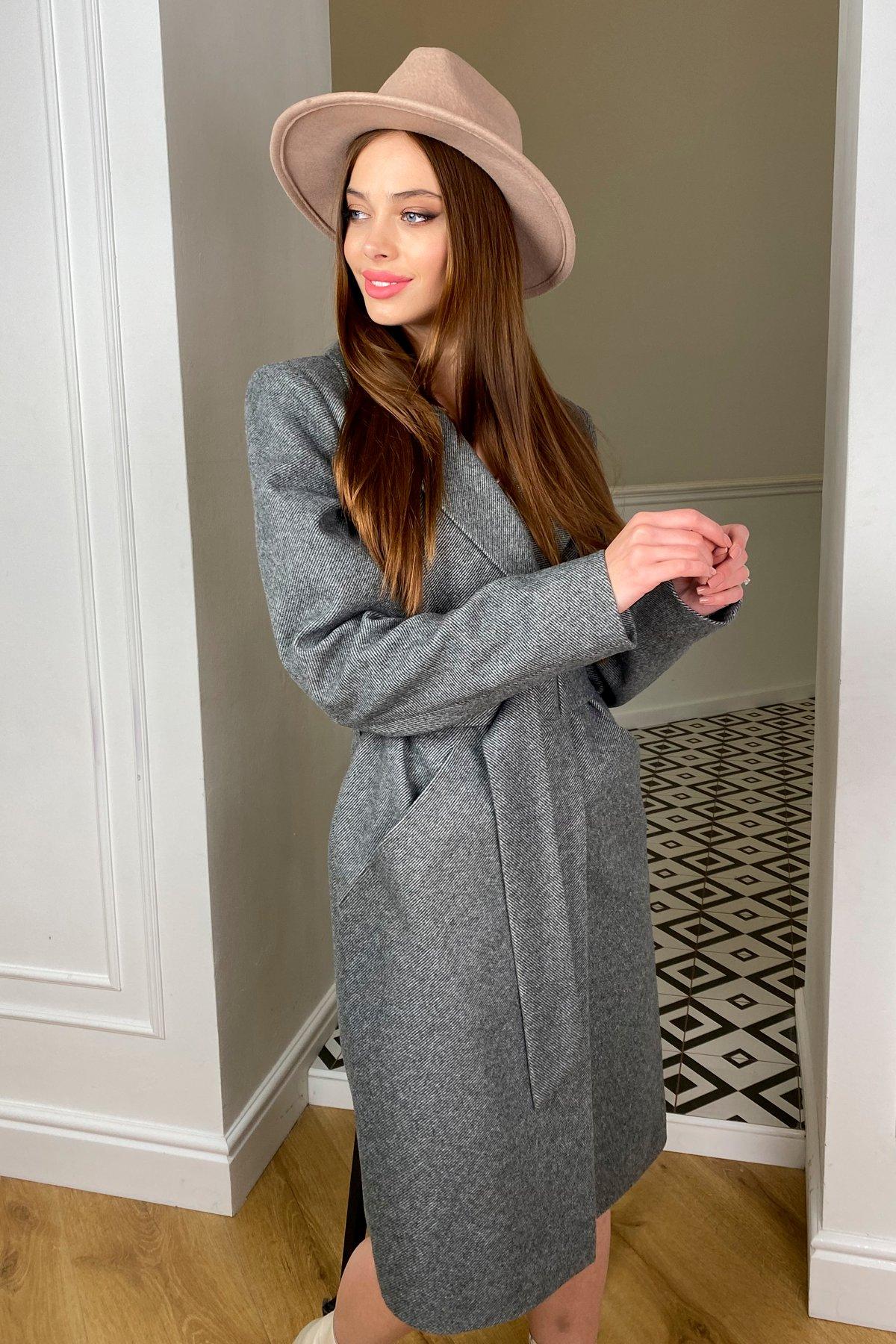 Кареро пальто с поясом из  пальтовой ткани  7961 АРТ. 44033 Цвет: Серый 1 - фото 1, интернет магазин tm-modus.ru