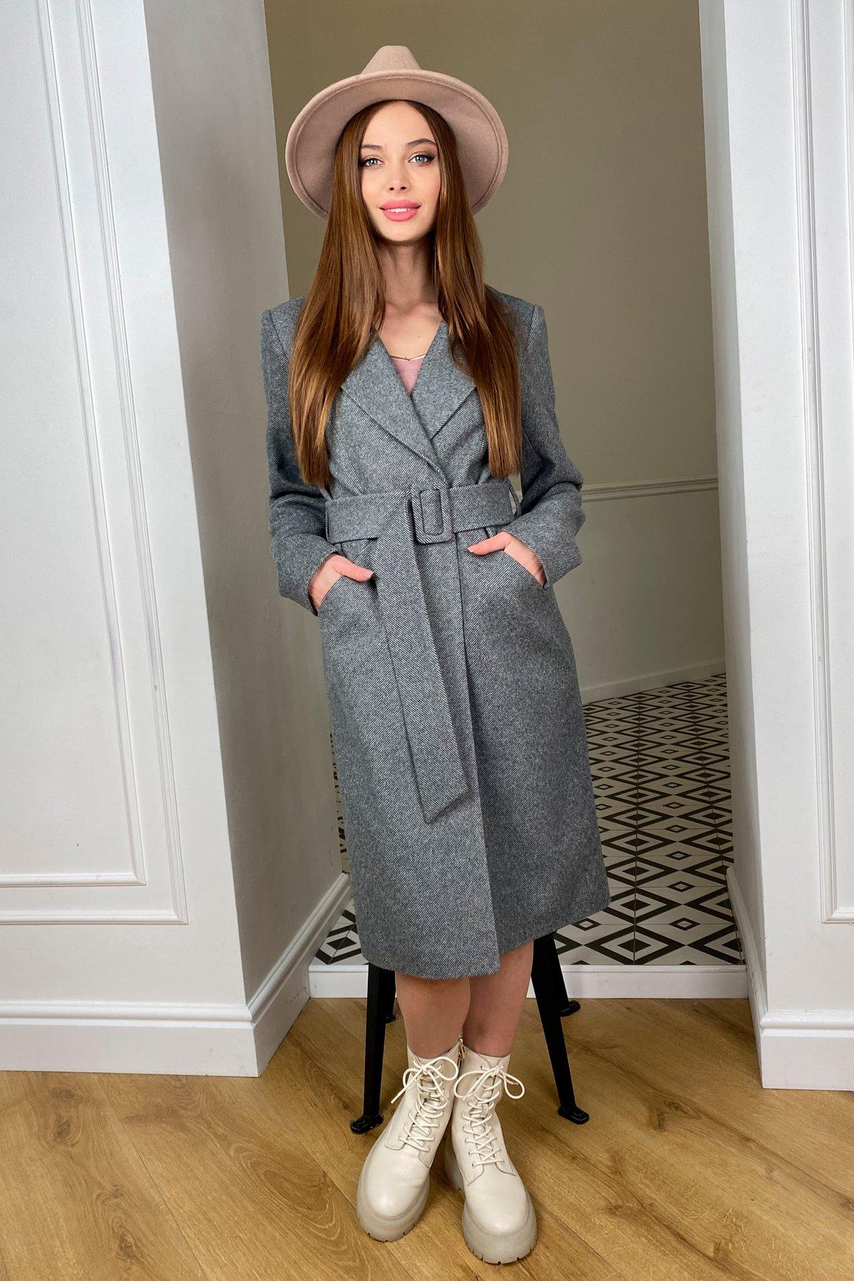Кареро пальто с поясом из  пальтовой ткани  7961 АРТ. 44033 Цвет: Серый 1 - фото 2, интернет магазин tm-modus.ru
