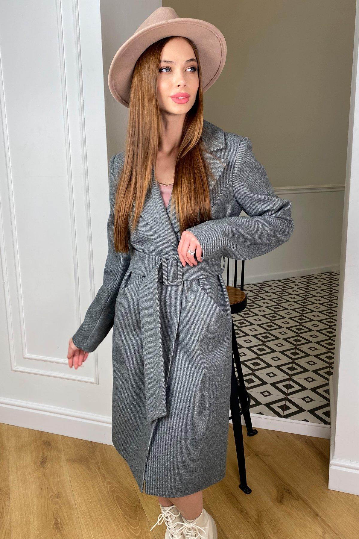 Кареро пальто с поясом из  пальтовой ткани  7961 АРТ. 44033 Цвет: Серый 1 - фото 5, интернет магазин tm-modus.ru