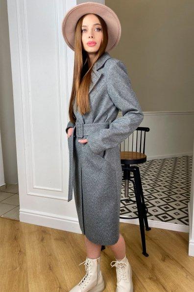 Кареро пальто с поясом из  пальтовой ткани  7961 Цвет: Серый 1