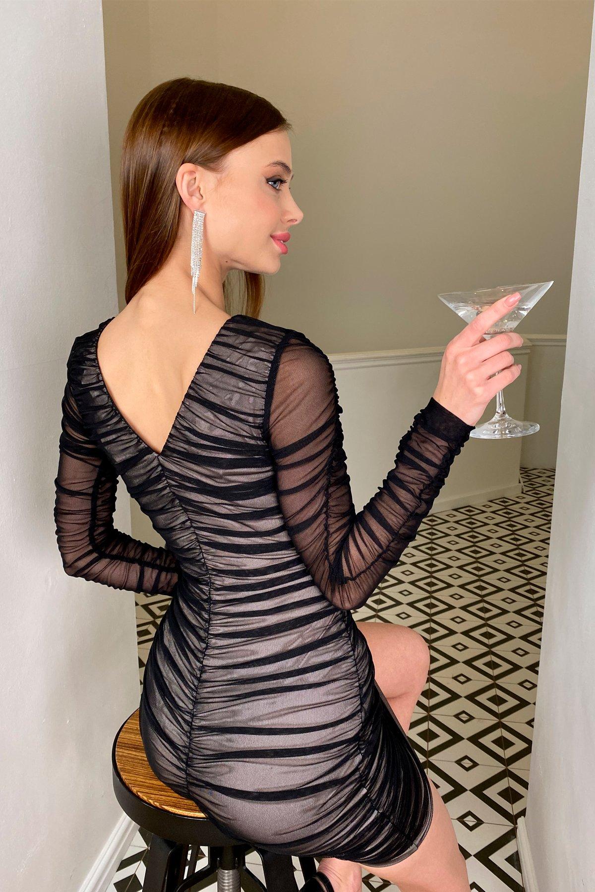 Облегающее платье Викси 8870 Цвет: Черный/бежевый