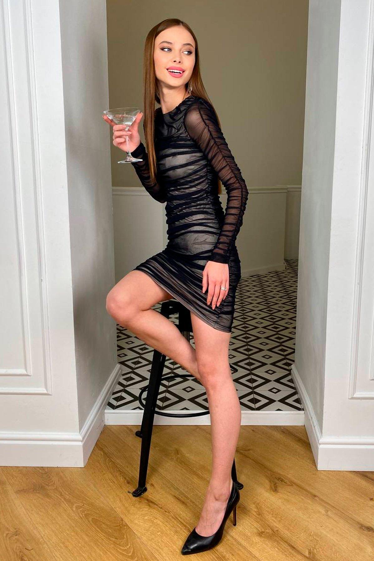 Облегающее платье Викси 8870 АРТ. 45201 Цвет: Черный/бежевый - фото 5, интернет магазин tm-modus.ru