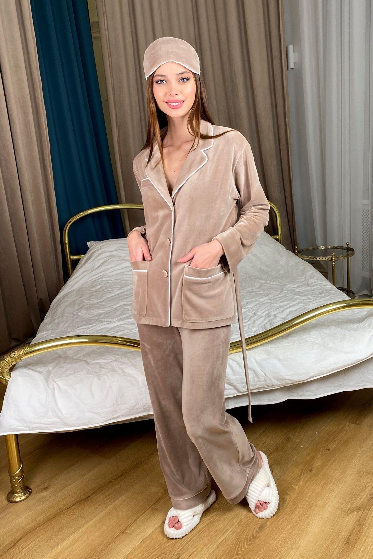 Шайн пижама велюр жакет брюки маска для сна 10353 Цвет: Бежевый Темный