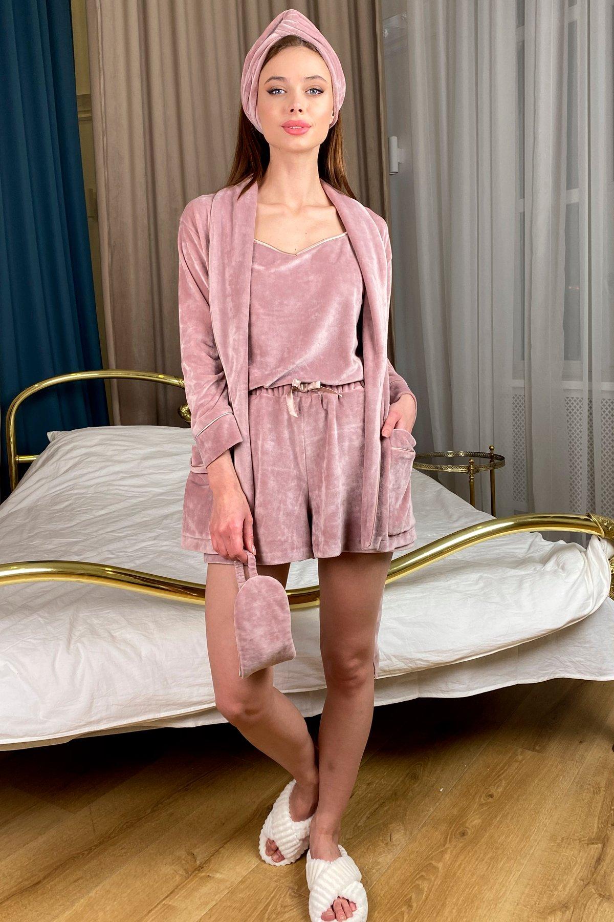 Дримс пижама велюр шорты,майка,маска для сна 10432 АРТ. 46744 Цвет: Пудра/бежевый - фото 1, интернет магазин tm-modus.ru