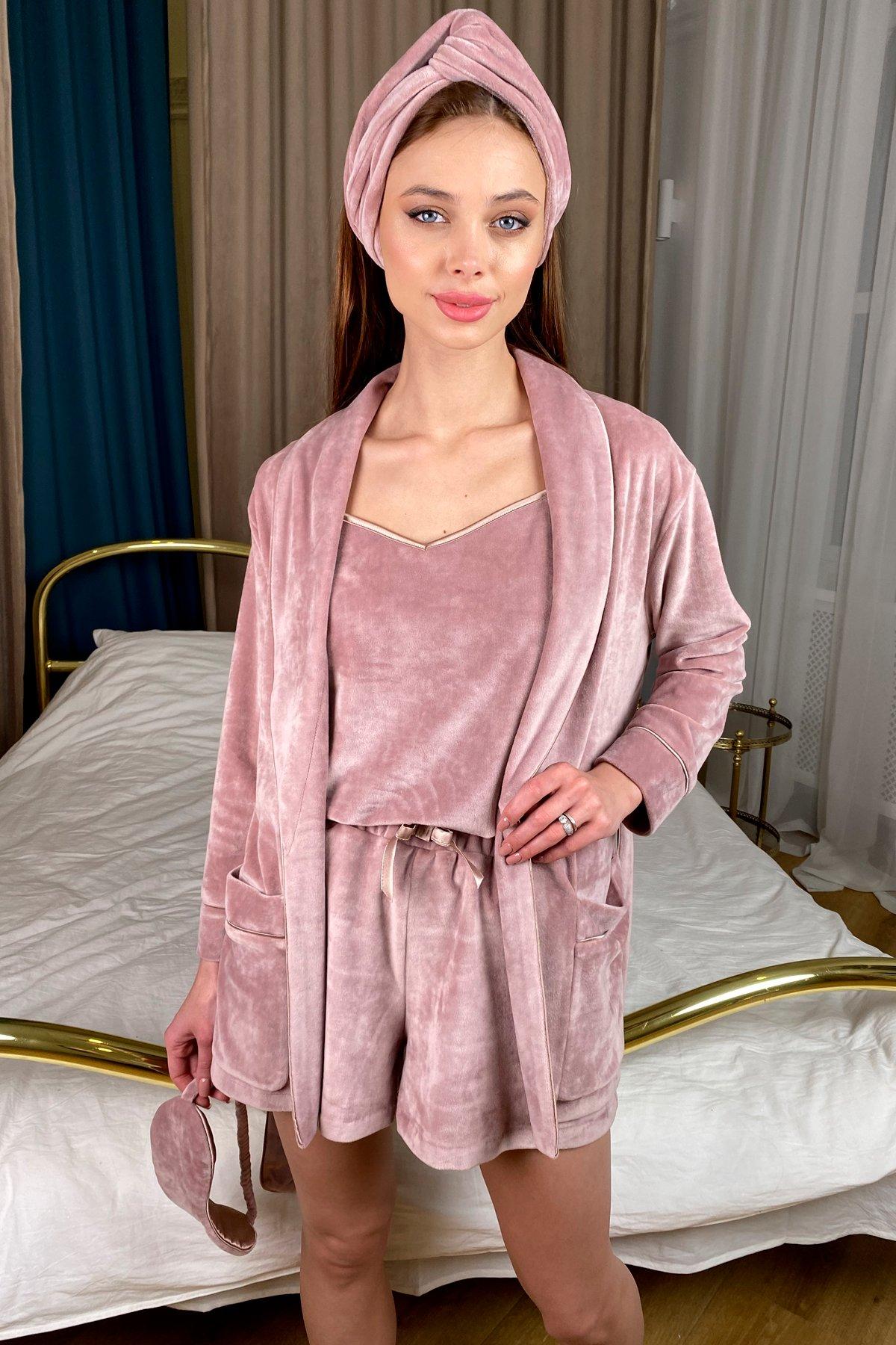 Дримс пижама велюр шорты,майка,маска для сна 10432 АРТ. 46744 Цвет: Пудра/бежевый - фото 3, интернет магазин tm-modus.ru