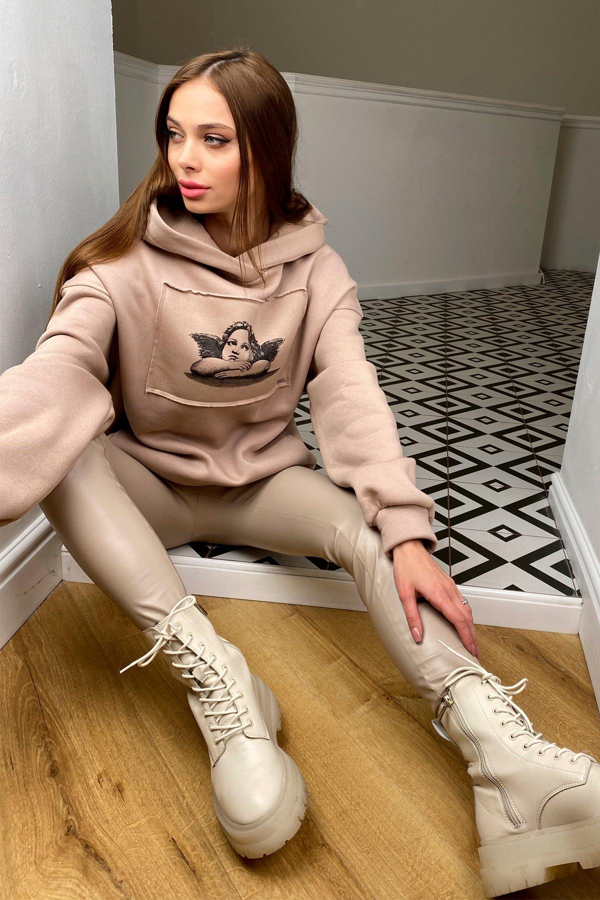 Ангел худи на флисе 10427 АРТ. 46736 Цвет: Кофе/Черный - фото 2, интернет магазин tm-modus.ru