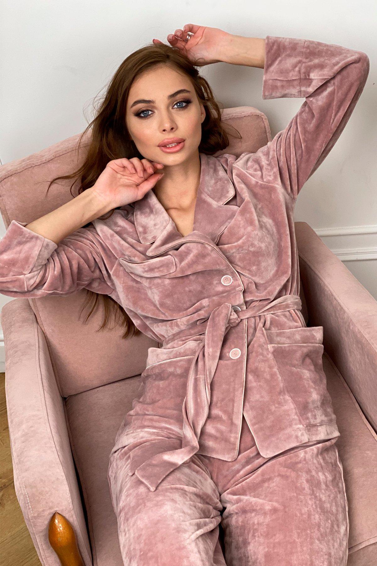 Шайн пижама велюр жакет брюки маска для сна 10353 АРТ. 46660 Цвет: Пудра - фото 5, интернет магазин tm-modus.ru