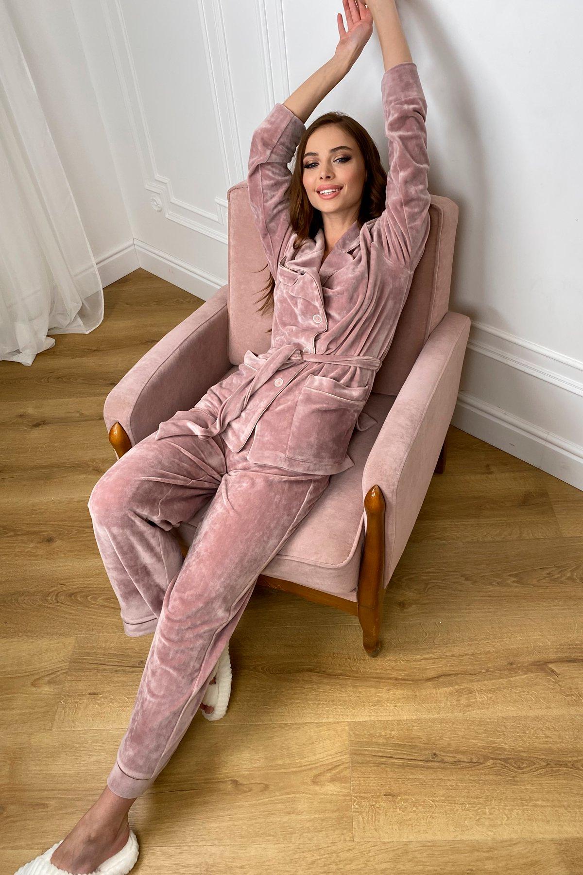 Шайн пижама велюр жакет брюки маска для сна 10353 АРТ. 46660 Цвет: Пудра - фото 3, интернет магазин tm-modus.ru