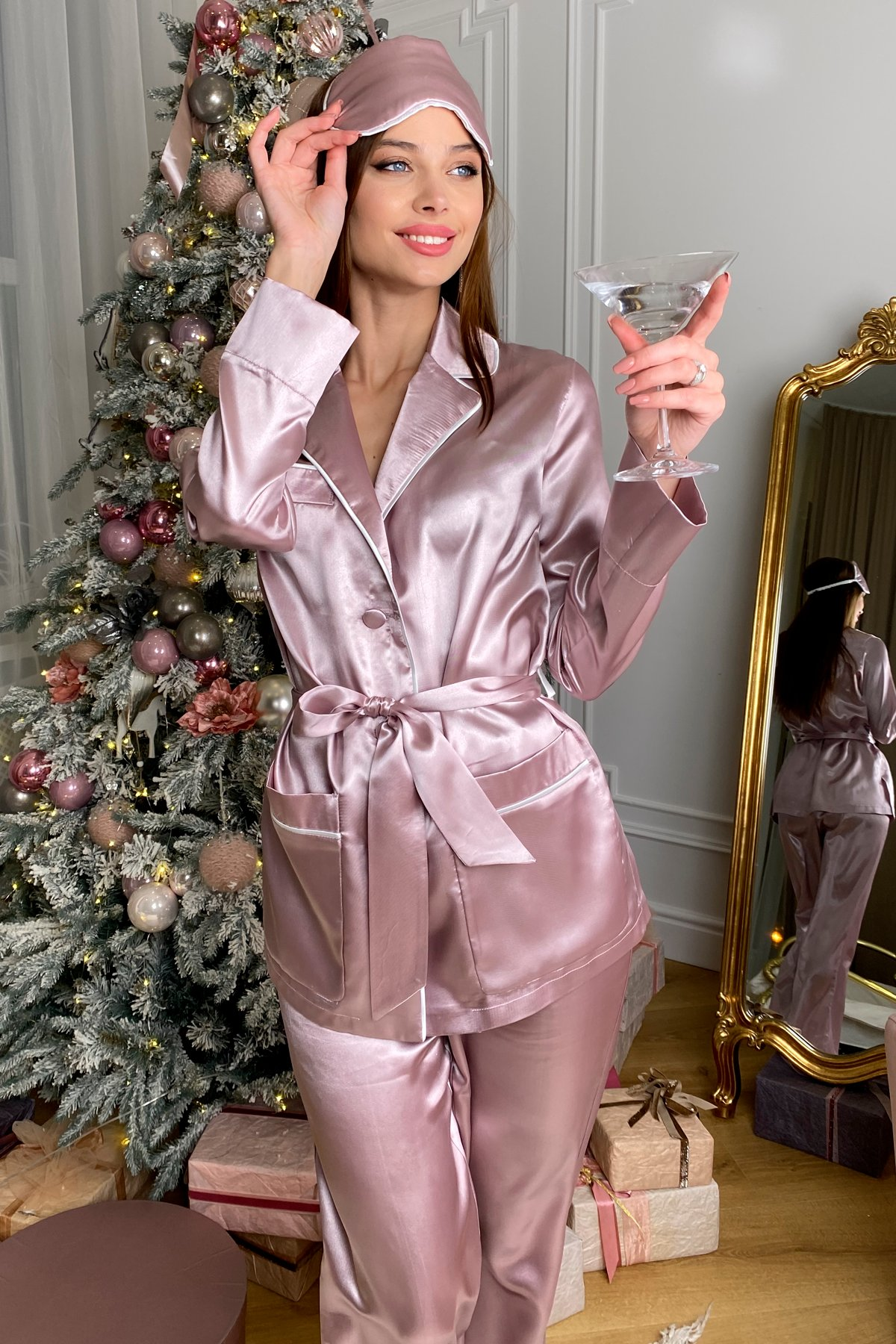 Шайн пижама из шелка 10446 АРТ. 46759 Цвет: Пудра - фото 6, интернет магазин tm-modus.ru