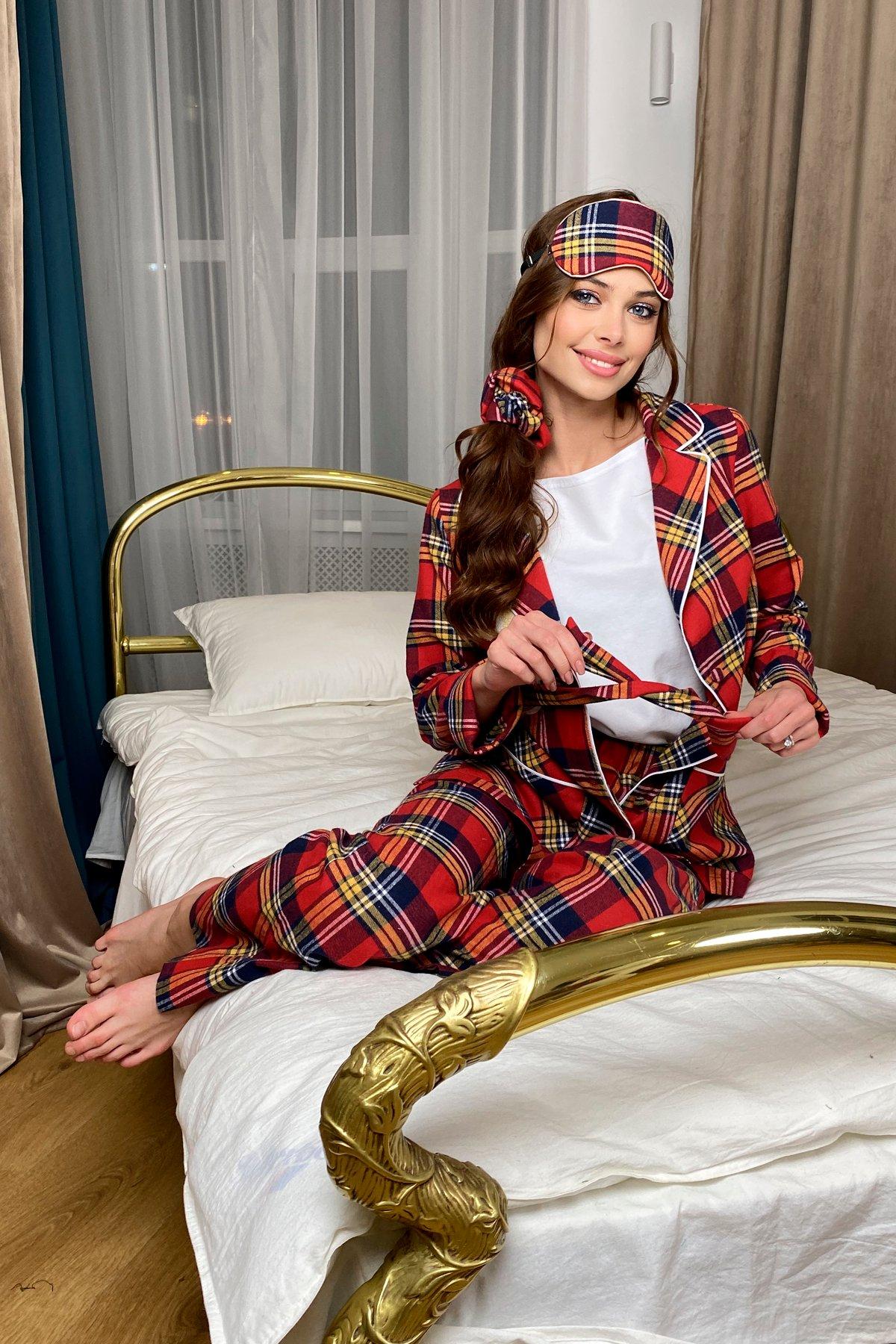 Тедди пижама в клетку из коттона(жакет,футболка,брюки,маска,резинка) 10384 АРТ. 46695 Цвет: Красный/т.синий - фото 5, интернет магазин tm-modus.ru