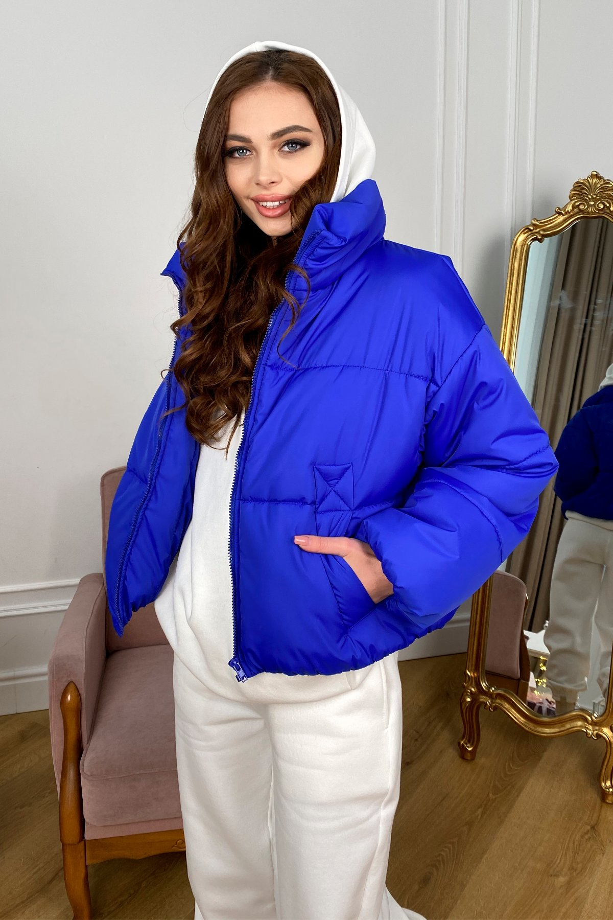 Драйв куртка из плащевой ткани 10448 АРТ. 46769 Цвет: Электрик 1052 - фото 1, интернет магазин tm-modus.ru