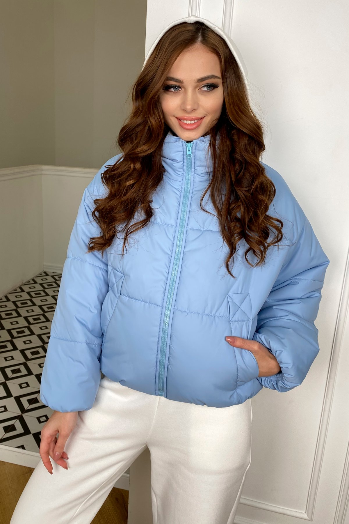Драйв куртка из плащевой ткани 10448 АРТ. 46774 Цвет: Голубой - фото 6, интернет магазин tm-modus.ru