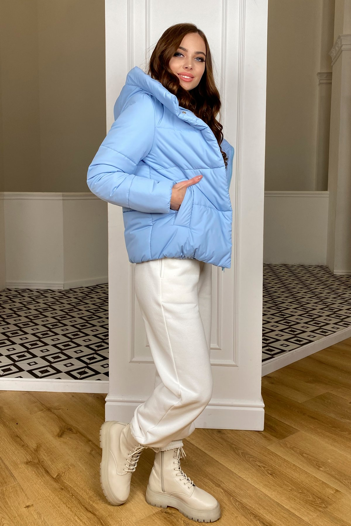 Рито  куртка из плащевой ткани Ammy  10443 АРТ. 46773 Цвет: Голубой - фото 2, интернет магазин tm-modus.ru