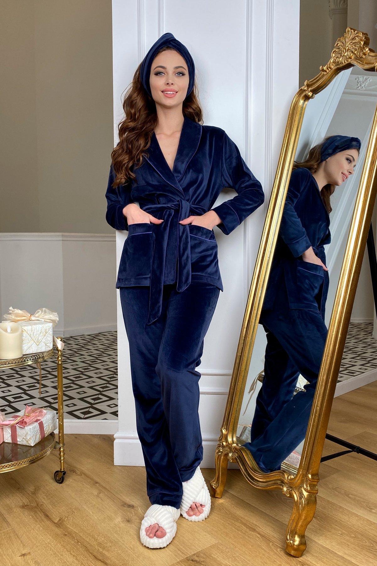 Ясмин пижама из велюра жакет,брюки и маска для сна  10376 АРТ. 46799 Цвет: т. синий - фото 1, интернет магазин tm-modus.ru