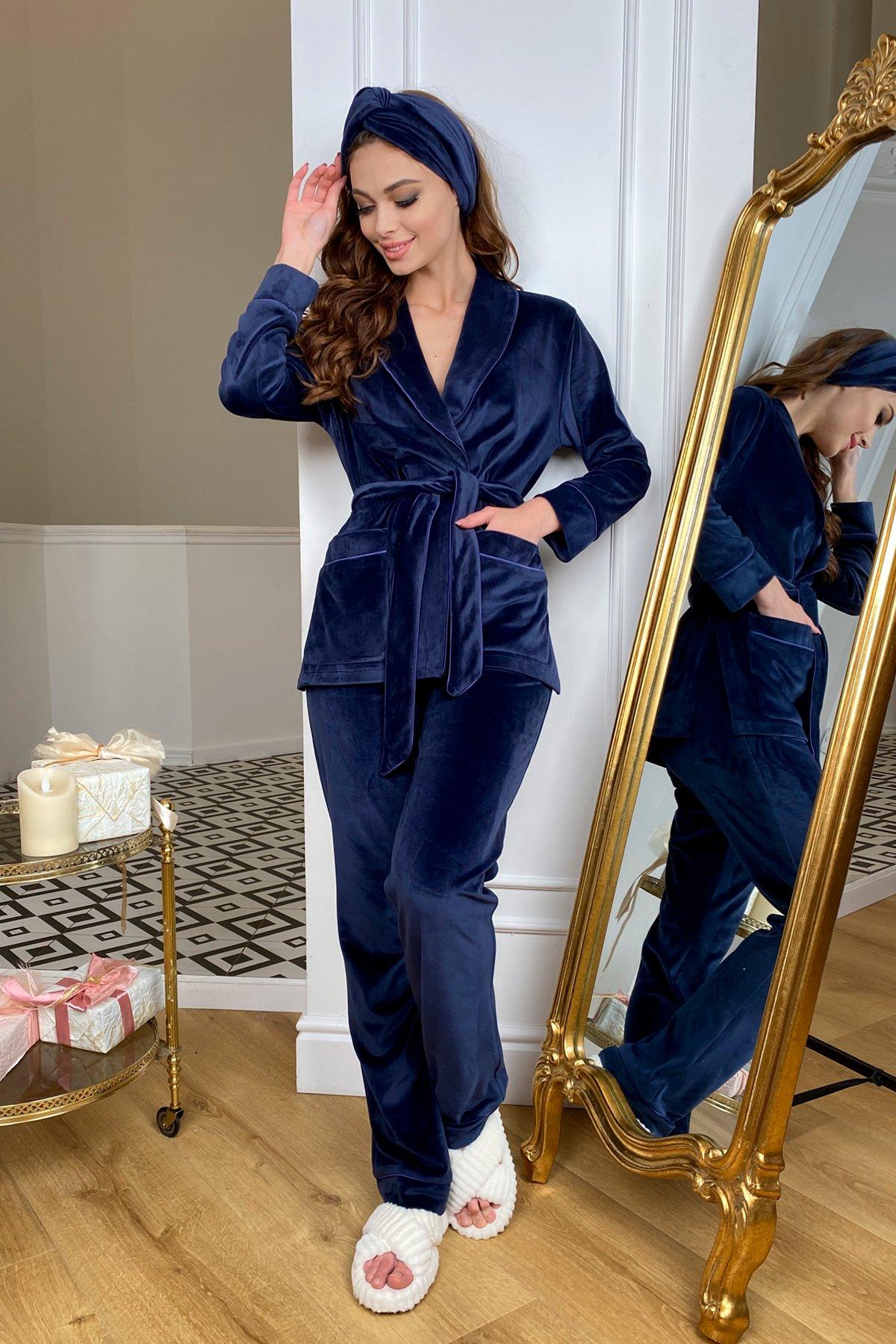 Ясмин пижама из велюра жакет,брюки и маска для сна  10376 АРТ. 46799 Цвет: т. синий - фото 3, интернет магазин tm-modus.ru