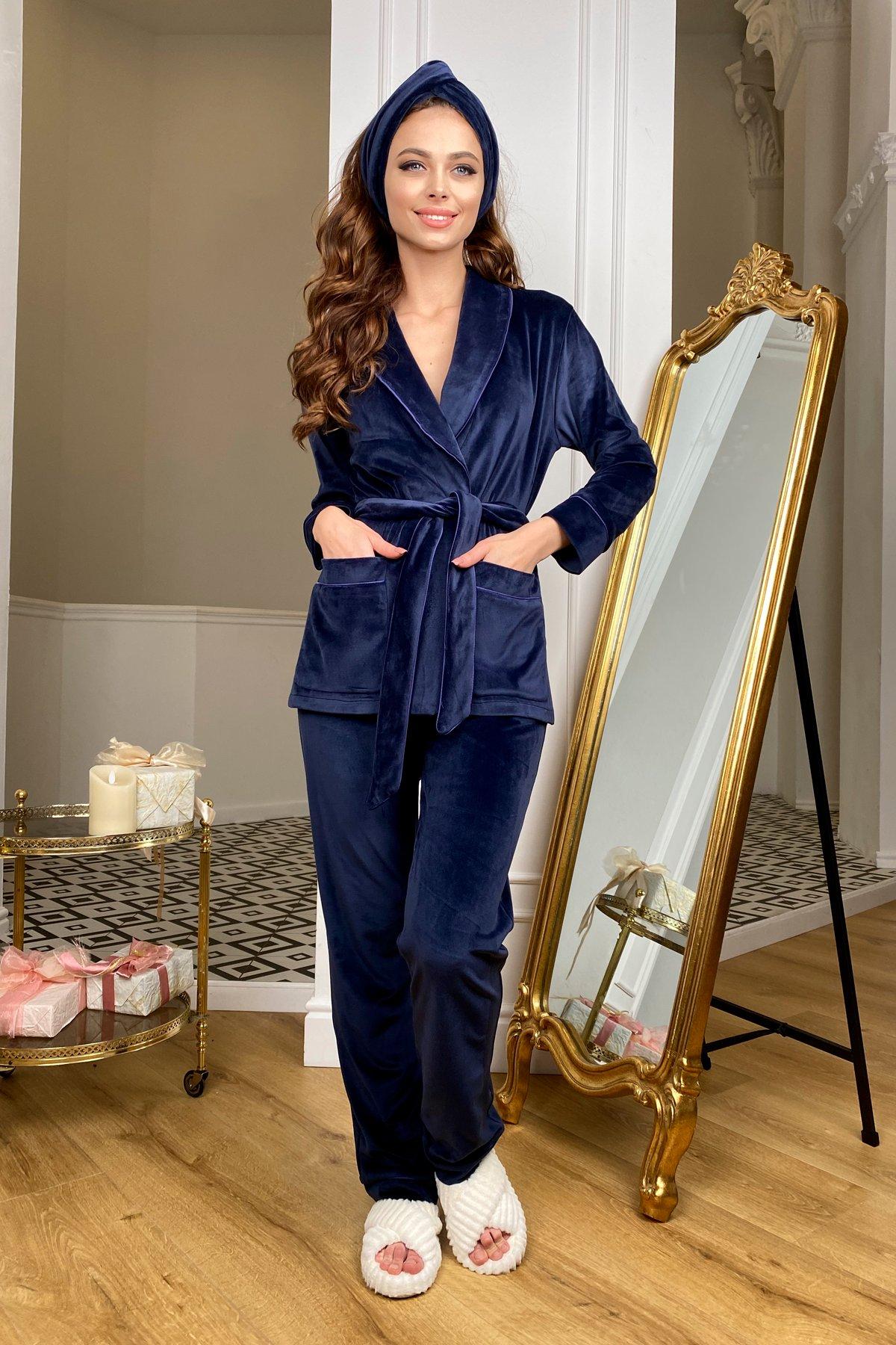 Купить женскую одежду оптом Ясмин пижама из велюра жакет,брюки и маска для сна  10376