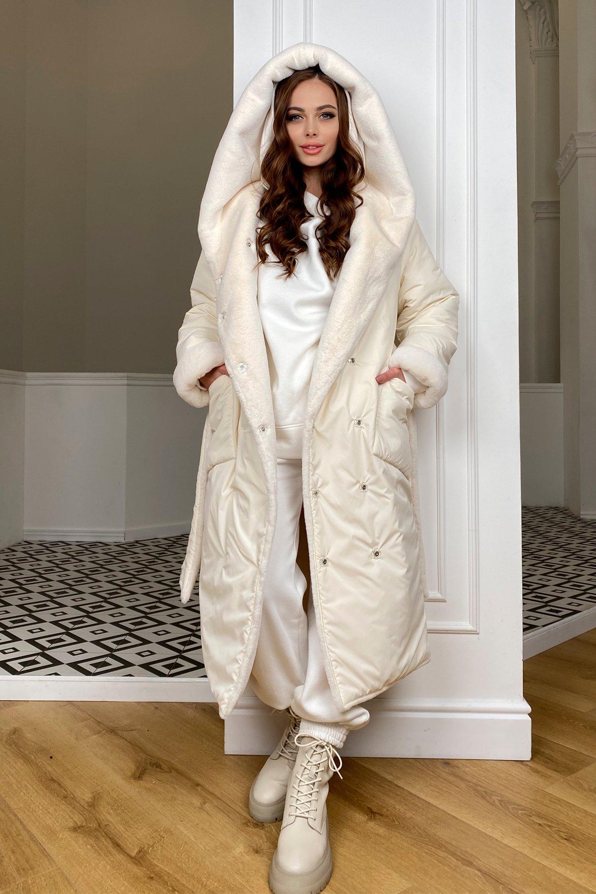 Сноу  теплое двухстороннее пальто из  еко меха и плотной  плащевки 9956 АРТ. 46669 Цвет: Молоко/Молоко 6 - фото 1, интернет магазин tm-modus.ru