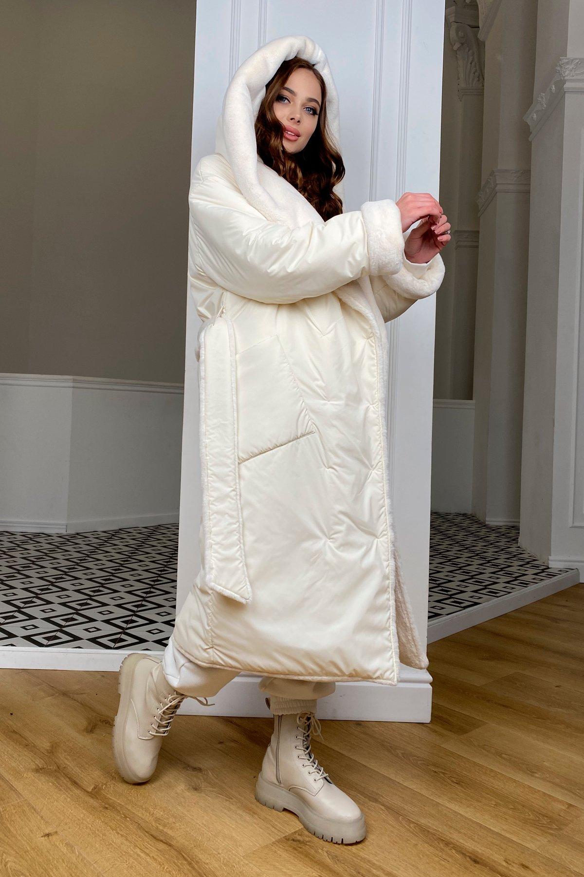 Сноу  теплое двухстороннее пальто из  еко меха и плотной  плащевки 9956 АРТ. 46669 Цвет: Молоко/Молоко 6 - фото 2, интернет магазин tm-modus.ru