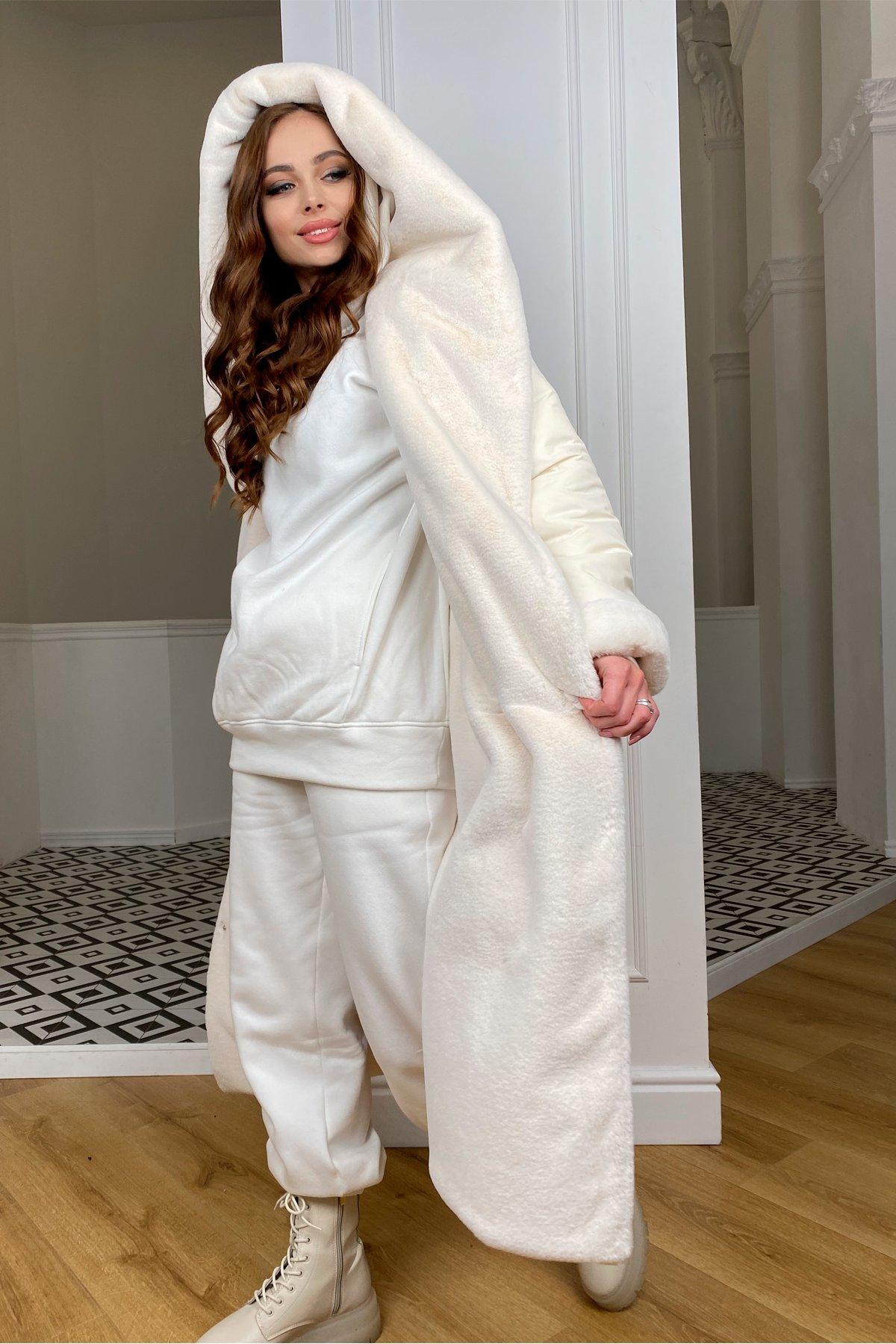 Сноу  теплое двухстороннее пальто из  еко меха и плотной  плащевки 9956 АРТ. 46669 Цвет: Молоко/Молоко 6 - фото 4, интернет магазин tm-modus.ru