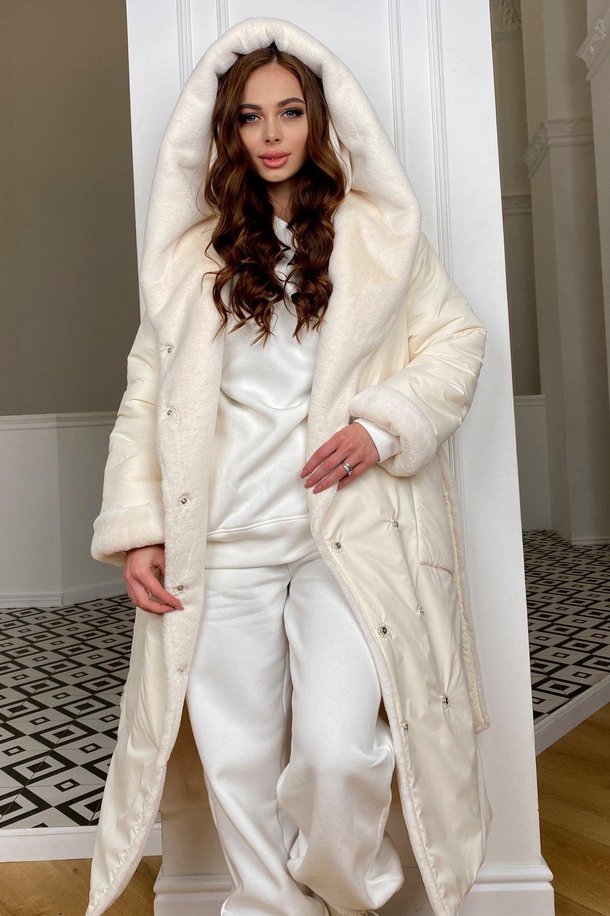 Сноу  теплое двухстороннее пальто из  еко меха и плотной  плащевки 9956 АРТ. 46669 Цвет: Молоко/Молоко 6 - фото 5, интернет магазин tm-modus.ru