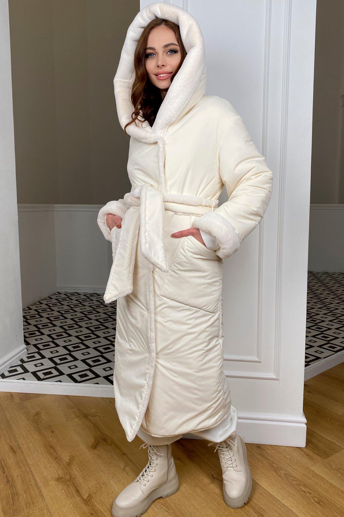 Сноу  теплое двухстороннее пальто из  еко меха и плотной  плащевки 9956 АРТ. 46669 Цвет: Молоко/Молоко 6 - фото 6, интернет магазин tm-modus.ru