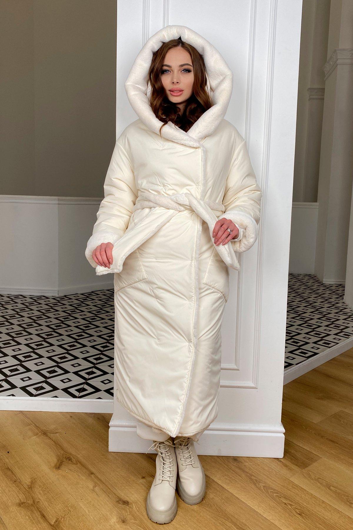 Сноу  теплое двухстороннее пальто из  еко меха и плотной  плащевки 9956 АРТ. 46669 Цвет: Молоко/Молоко 6 - фото 7, интернет магазин tm-modus.ru