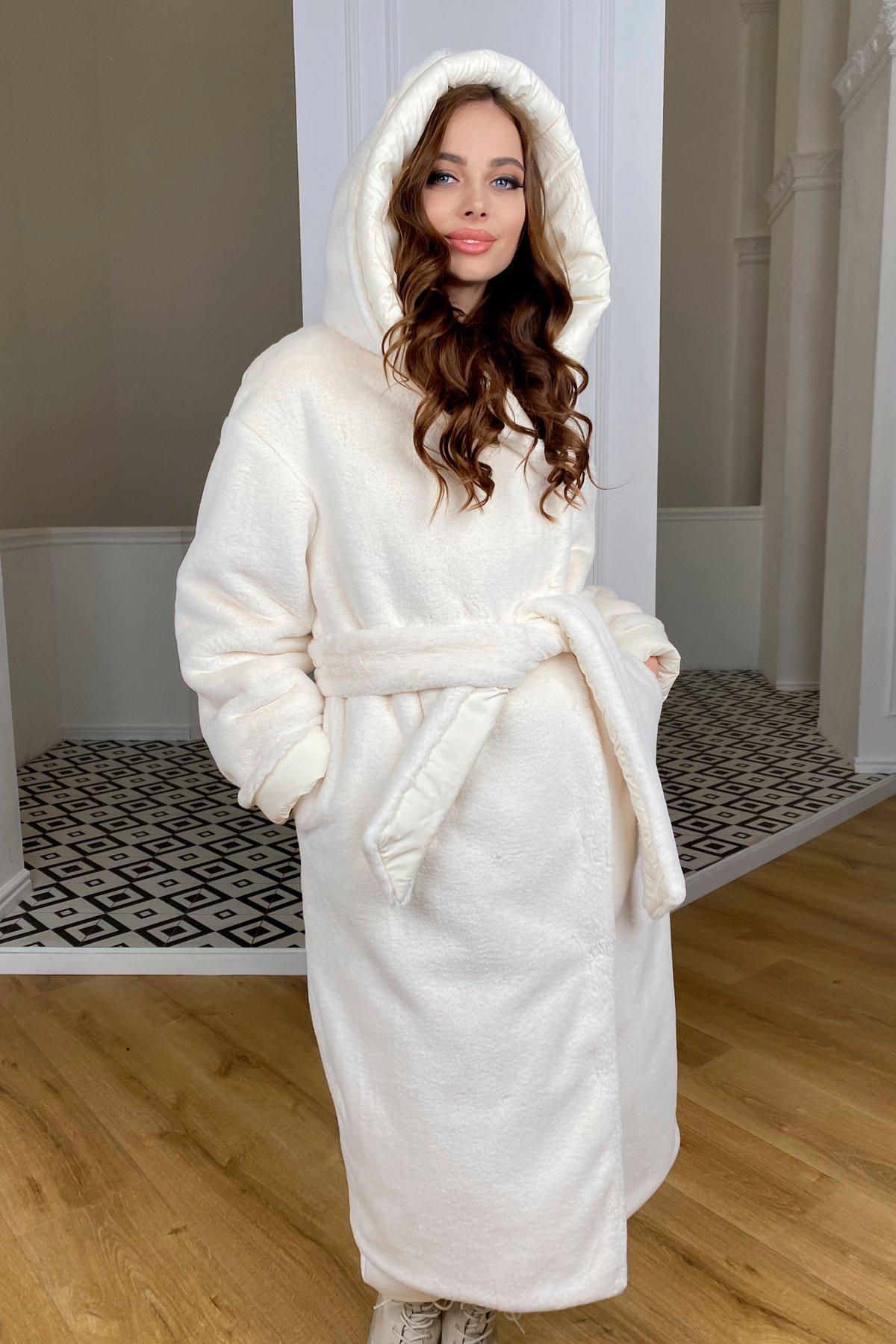 Сноу  теплое двухстороннее пальто из  еко меха и плотной  плащевки 9956 АРТ. 46669 Цвет: Молоко/Молоко 6 - фото 11, интернет магазин tm-modus.ru
