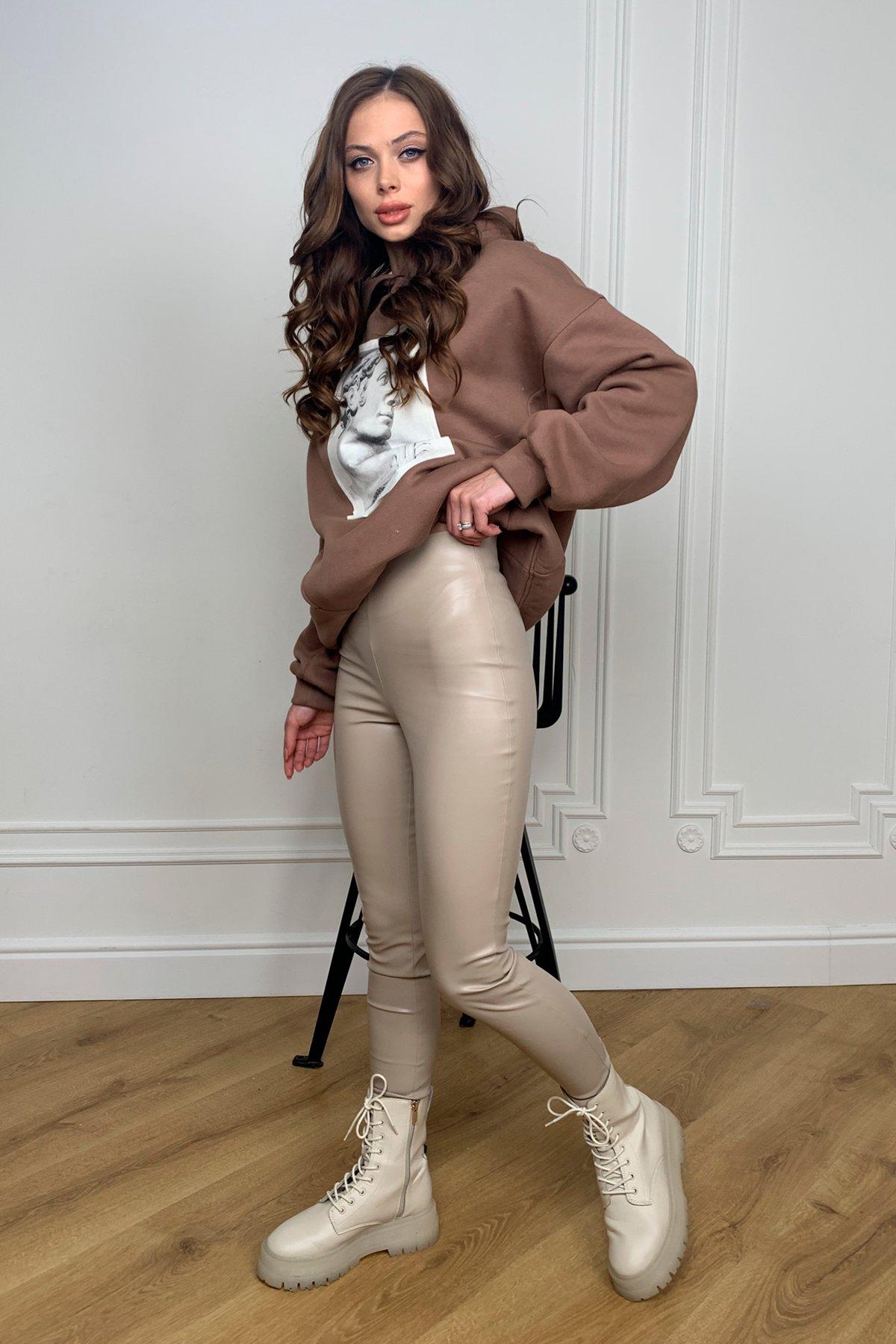 Модные женские брюки Лонг леггинсы  из экокожи 10479